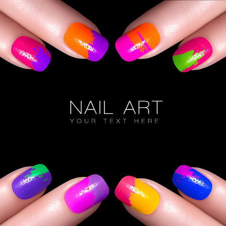 manicured: Fingers with colorful nail polish and drops of water. Manicure and makeup concept. Closeup image isolated on black with sample text