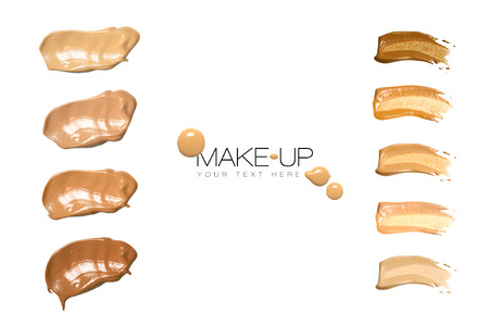 smudge: Color swatches foundation makeup isolated on white with sample text Stock Photo