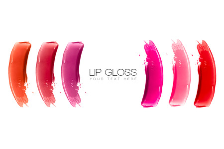 smudge: Colorful swatches of lip gloss isolated on white with sample text. Beauty and makeup concept Stock Photo