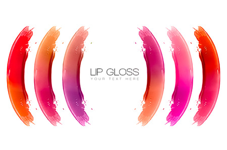 glitter gloss: Colorful swatches of lip gloss isolated on white with sample text. Beauty and makeup concept Stock Photo