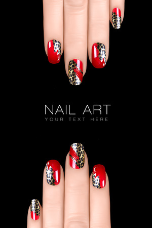 Nail polish stickers with animal print. Professional manicure. Nail art concept. Closeup image isolated on black with sample text photo