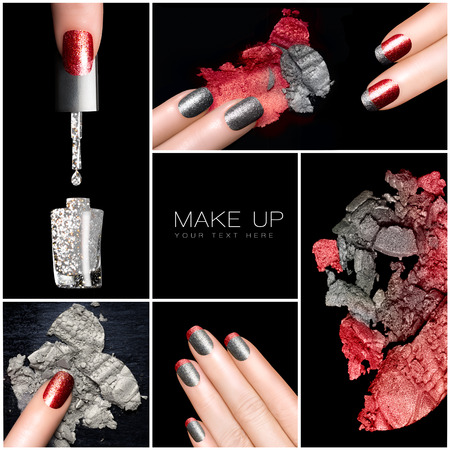 Makeup and nail art trend. Trendy manicure set. Five Isolated macro pictures over black background. Manicure and makeup concept. Eyeshadows and nail polish in red and silver