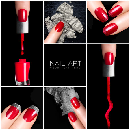 varnish: Nail art trend. Trendy manicure set. Six Isolated macro pictures over black background. Manicure and makeup concept.