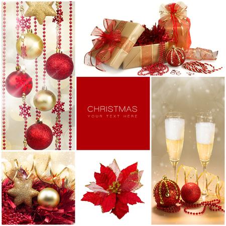 Conjunto de Navidad. Winter Holiday Gifts. Collage con detalles dorados y rojos de Navidad y Año Nuevo. Cinco imágenes con texto de ejemplo. Feliz Navidad y feliz año nuevo Foto de archivo - 32612638