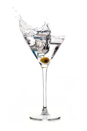 martini splash: Dry martini cocktail isolated on white background. Splash