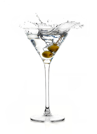 Dry martini cocktail isolated on white background. Splash