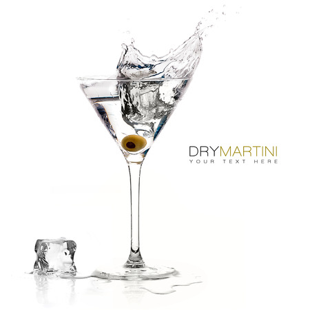 Dry martini cocktail with big splash isolated on white background. Design template with sample text