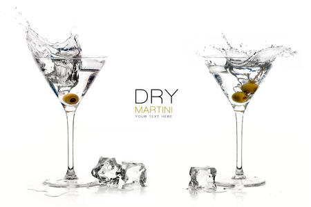 happy hour: Two dry martini glasses with big splashes. Cocktails isolated on white background. Splash. Template design with sample text