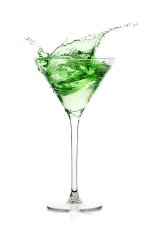 Peppermint schnapps. Mint liquor isolated on white background. Cocktail Splash