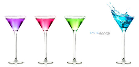 liquors: Colorful set of exotic liquors isolated on white with sample text. Glasses of spirits. Splash. Template design