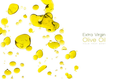 olive green: Olive oil drops. Closeup bubbles in water isolated on white. Template design with sample text