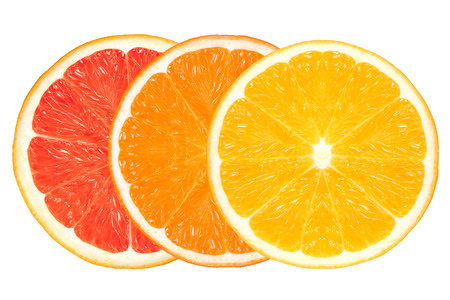 clean: Closeup of lemon, orange and grapefruit slices. Healthy fresh citrus fruits isolated on white background. Healthy diet and clean eating concept. Stock Photo