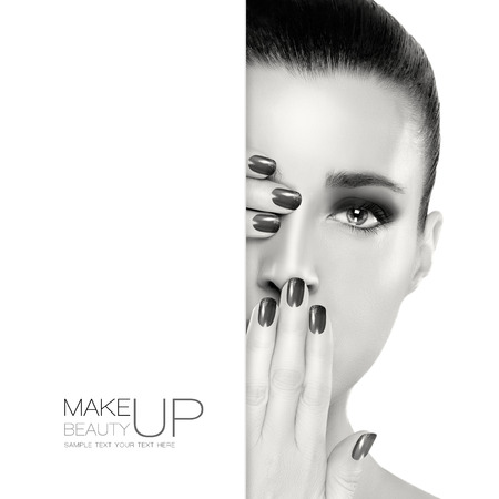 nail lacquer: Beautiful young woman with hands on her face covering one eye and mouth. Perfect skin. Nail art and makeup concept. Monochrome Portrait isolated on white. Template design with sample text Stock Photo