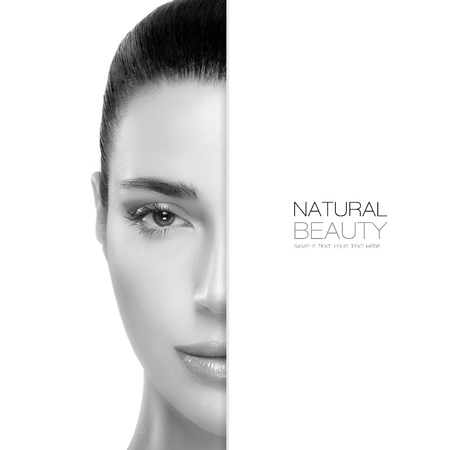 Spa Beauty concept with a half face portrait of a gorgeous woman with healthy clean skin and blank copyspace alongside with sample text. Template design