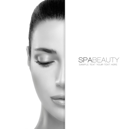 cares: Spa Beauty concept with a half face portrait of a gorgeous woman with healthy clean skin and blank copyspace alongside with sample text. Template design