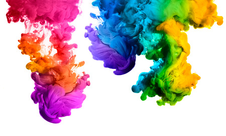 abstrakcje: Ink in water isolated on white background. Rainbow of colors