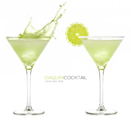 Daiquiri frozen cocktail with big splash isolated on white background. Design template with sample text Archivio Fotografico