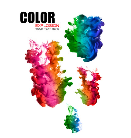 background color: Ink in water isolated on white background. Rainbow of colors. Template design with sample text. Color explosion