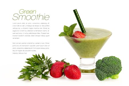 blend: Green smoothie with fresh fruit and vegetables isolated on white background. Healthy eating and diet concept. Design template with sample text Stock Photo