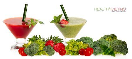 verduras verdes: Healthy dieting concept Two healthy organic fruit and vegetable smoothies  Foto de archivo