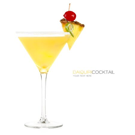 Frozen pineapple daiquiri cocktail in a stylish martini glass
