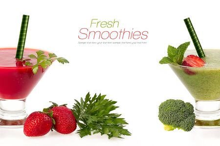 clean food: Healthy fruit and vegetable smoothies made from ripe red juicy strawberries and fresh organic broccoli served in conical glasses