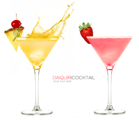 liquid summer: Daiquiri frozen cocktails with one splashing out and garnished with fresh fruit, isolated on white background. Design template with sample text