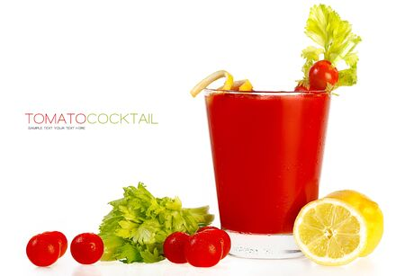 tomato cocktail: Delicious fresh tomato cocktail made with freshly squeezed tomato, lemon and parsley served in a glass with a celery stick, isolated on white with sample text. Template design Archivio Fotografico