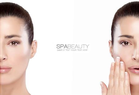 mujer maquillandose: Belleza y cuidado de la piel concepto con dos retratos de medio rostro de una mujer joven serena con una tez lisa impecable, aislado en blanco, con copia espacio en el texto central y de la muestra. Diseño de la plantilla
