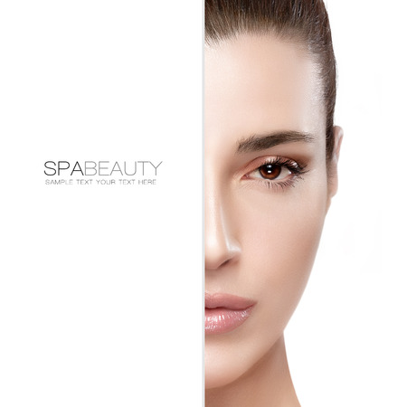 formula: Beauty and skincare concept with a half face portrait of a serene young woman with a flawless smooth complexion, isolated on white with copy space at the left. Template design with sample text