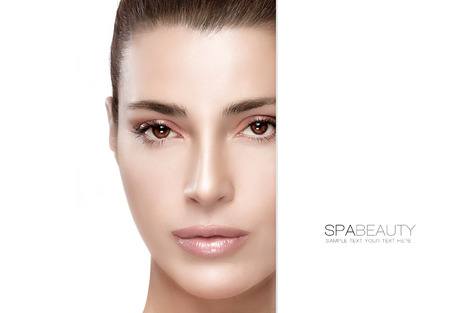 Beauty and skincare concept. Portrait of a gorgeous woman with a flawless smooth complexion and blank copyspace alongside with sample text. Template design Stockfoto