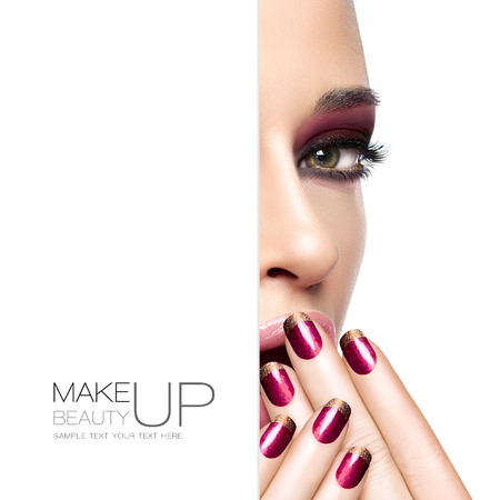 Beauty and makeup concept with a half face portrait of a gorgeous woman with fashion make-up and nails. Blank copyspace alongside with sample text. Template design