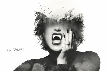 Concetto di Halloween con una ragazza gotica con abiti scuri e le unghie indossando denti da vampiro con una doppia esposizione di volare pipistrelli sopra un bosco misterioso sulla fronte, isolato su bianco con testo di esempio Archivio Fotografico