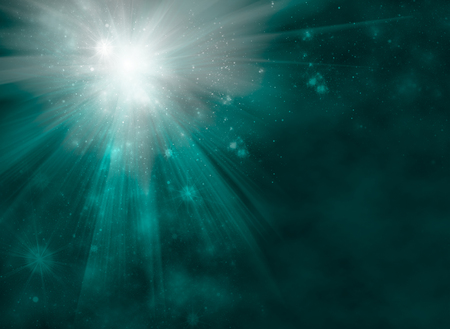blue stars: Bright starburst or fireworks with radiating rays of light on an abstract blue green blur background with flare sparkles and copyspace for text