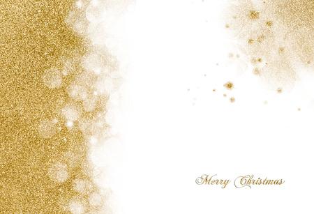 左手の境界線との角の装飾としてのご挨拶 copyspace と白散在して黄金の輝きでクリスマスの背景