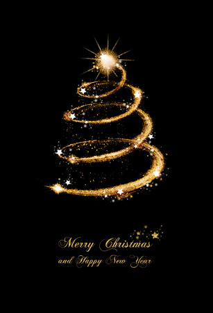 elegant gold glitter greeting card with a spiral abstract christmas tree topped with a star and