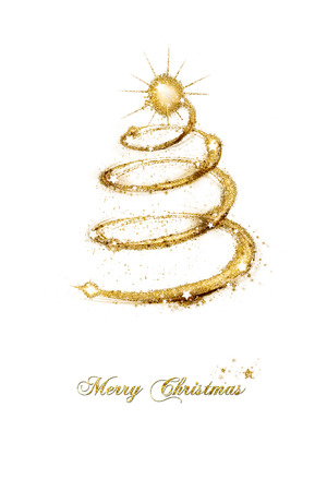 gold tree: Merry Christmas seasonal greeting card with a spiral abstract tree of sparkling gold glitter decorated with stars and text isolated on white background