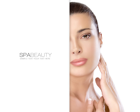 Beauty portrait of a gorgeous natural young woman looking at the camera with a serene expression suitable for skincare and spa concepts and blank copyspace alongside with sample text. Template design