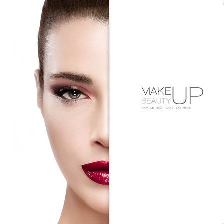 makeup eyes: Beauty and Makeup concept with half face of a beautiful young woman. Perfect skin. Trendy burgundy lips and smoky eyes. Fashionable eyelashes. High fashion portrait isolated on white with sample text