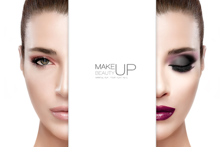 Beauty and Makeup concept with two half faces of a beautiful young woman with professional makeup. Perfect skin. Trendy lips and smoky eyes. Fashionable eyelashes. Two high fashion portraits isolated on white with sample text