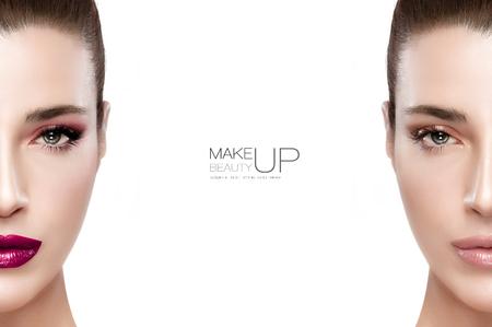 Uroda i makijaż koncepcji z dwoma pół widokiem na twarzy pięknej kobiety brunetka po obu stronach ramy, jeden z makijażem i bez jednego naturalnego. Dwa portrety pojedyncze w kolorze białym z przykładowy tekst