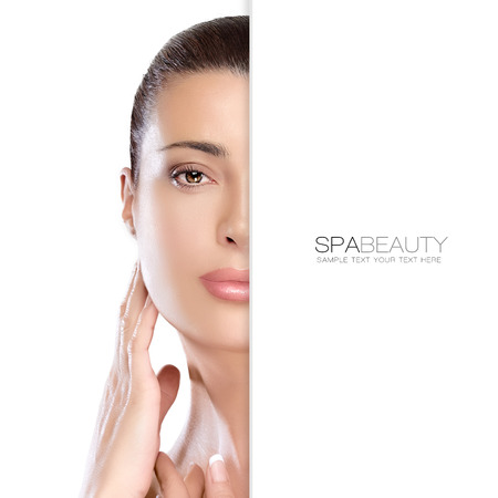 Beauty portrait of a gorgeous natural young woman with perfect healthy skin and a serene expression, suitable for skincare and spa concepts, isolated on white with copyspace alongside. Template design with sample text Stockfoto