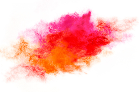 blend: Color explosion. Abstract design of a colorful dust cloud isolated on white background