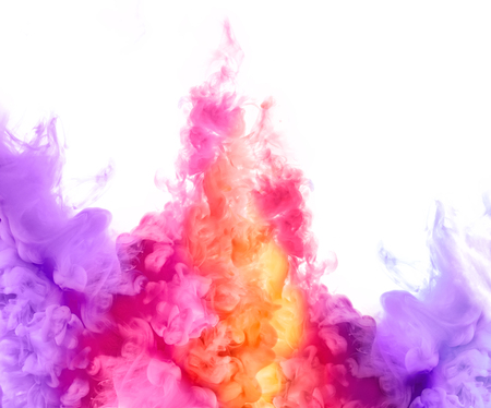 blend: Closeup of colorful ink in water isolated on white background. Paint texture. Color Explosion
