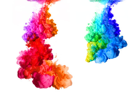 Rainbow of colors. Acrylic Ink in water isolated on white background. Paint texture.