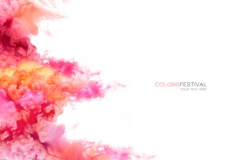 Zbliżenie kolorowe farby w wodzie na białym tle. Farby tekstury. kolor Explosion