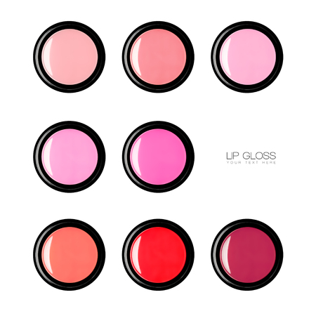 balm: Colorful array of trendy lip gloss in a black compact viewed from above with sample text. Beauty and makeup concept