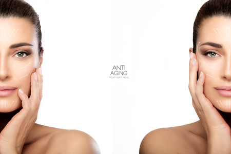Anti aging treatment and plastic surgery concept with two half face portraits of a beautiful young woman with a flawless smooth complexion, isolated on white with copy space in the middle. Template design Stock Photo