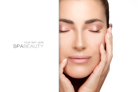 elasticity: Spa woman. Gorgeous natural young woman with hands on face and closed eyes with a serene expression suitable for skincare and spa concepts. Perfect skin. Beauty portrait isolated on white with copy space alongside for text.