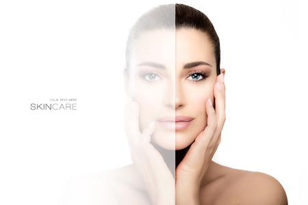 Skin care concept with a faded side on face of beautiful woman with tied back hair, hands on cheeks and bare shoulders.Beauty portrait isolated on white background
